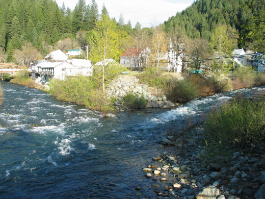 South and North Yuba Rivers merge in Downieville, CA