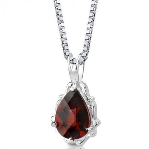 Imperial Beauty: Sterling Silver Rhodium Nickel Finish 2.25 carats Pear Shape Checkerboard Cut Garnet Pendant with 18 inch Silver Necklace