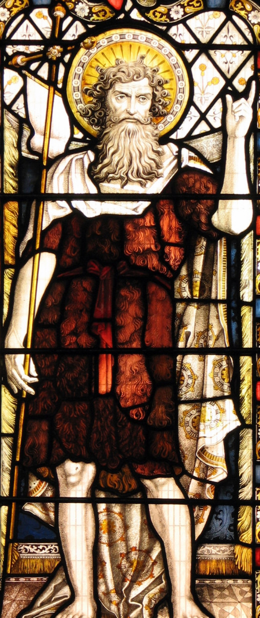 stained glass window of John the Baptist, Cathedral of Leicester, England