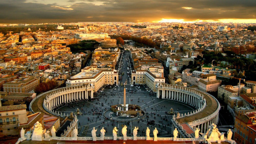Some people consider this the center of the religious world and one of the most holy sites. This is an areal view of Vatican City in Rome.