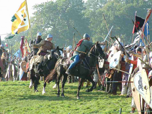 The battle went well at first for Harold on 14th October, 1066.. With feints and glancing attacks, William's cavalry finally wore them down