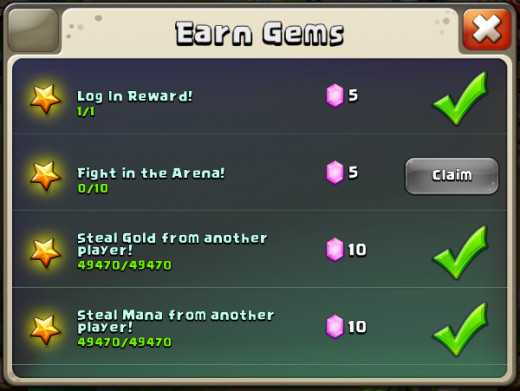 Daily gem rewards