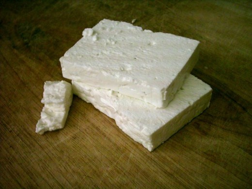 This is feta cheese. Similar to what this cheese will look like.