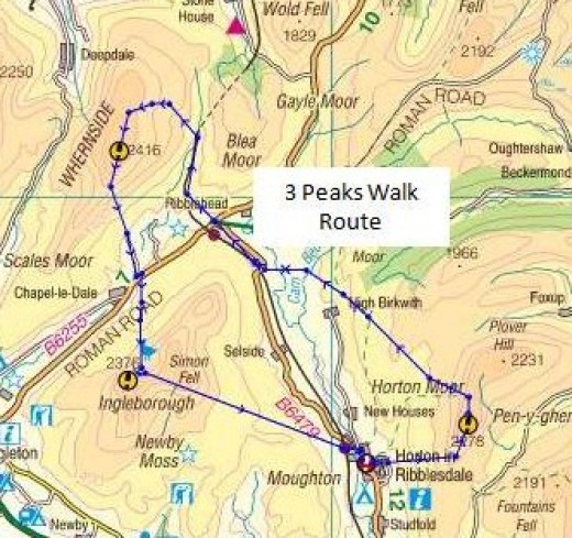 Three peaks walk between Horton, Ribblehead and Ingleton