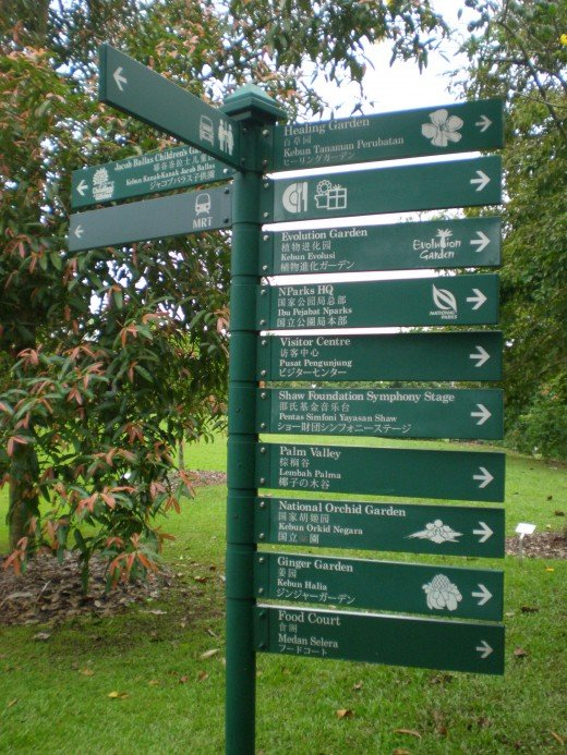 Signpost, without which it is very easy to get lost in this park.