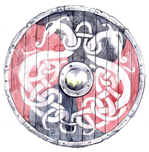 Knotwork design shield - lindenwood planks, ringed with iron, painted lovingly with interlaced serpents