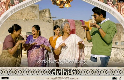 Abhishek Bachchan with his 'grandma' and neighbours.