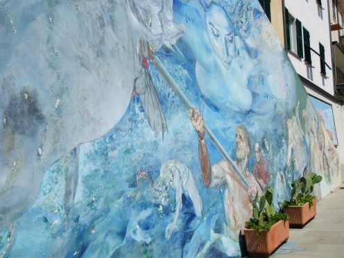 Benedetto fresco at the Town Hall of Riomaggiore