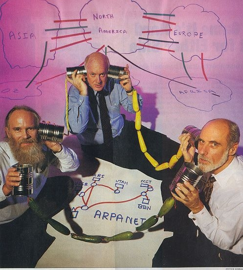Inventors of the ARPANET: Jon Postel, Steve Crocker, and Vinton Cerf posed for a 1994 Newsweek article on the 25th Anniversary of the ARPANET