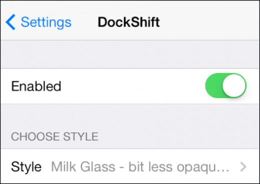 The DockShift settings page