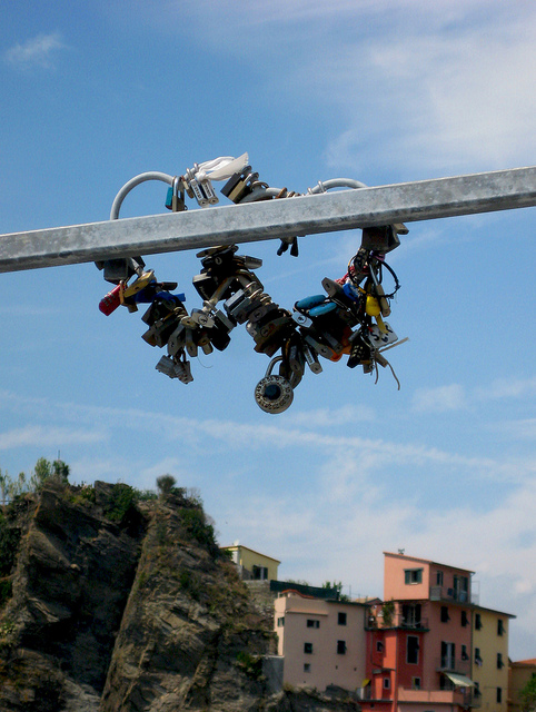 Padlocks on the Via dell'Amore in Riomaggiore