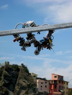 Padlocks on the Via dell'Amore in Riomaggiore