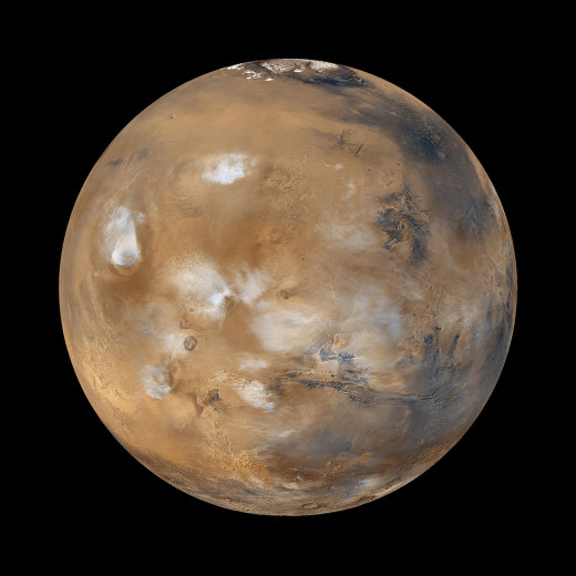 Computer-generated image of Mars, based on Mars Global Surveyor