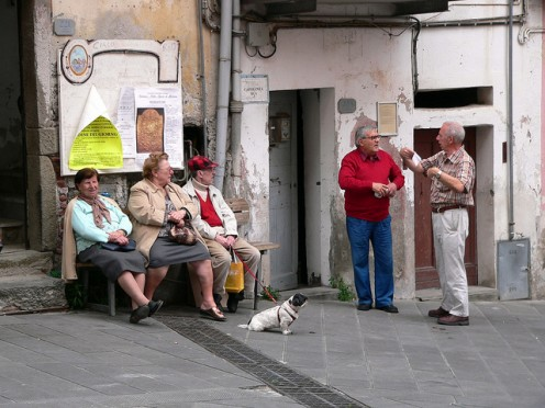 Locals in via Colombo in Riomaggiore