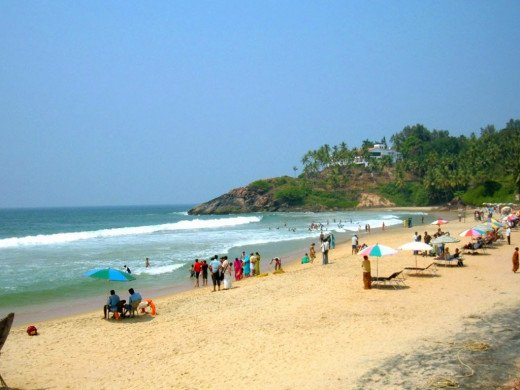 Tourists Thronging The Kovalam Hawah Beach.