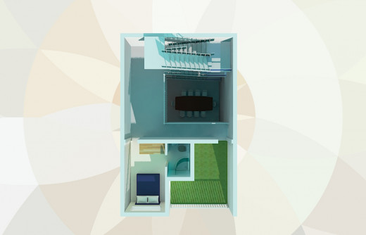 Large family house on small plot. Floor plan for the 2nd floor.
