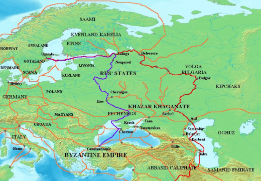 The ways of the Northmen to the east, to Holmgard, Koenungagard and Miklagard, the shining city of Byzantium
