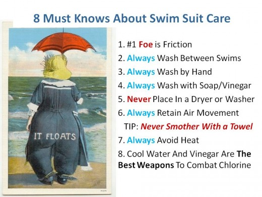 "8 Must Knows About Swim Suit Care with vintage swim suit girl with hat and red umbrella and her derriere with the words ""it floats"""