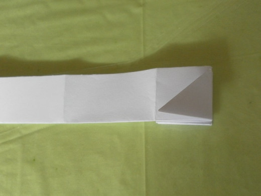 Fold the triangle over to the left. Then continue to fold the paper to make the accordion folds..
