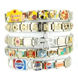 Five different sizes of Italian Charm Bracelets showcases on a white background