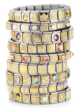stack of 9 gold and silver Italian charm bracelets