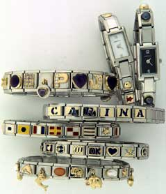 Italian charm bracelets some with watches some with drop charms and more