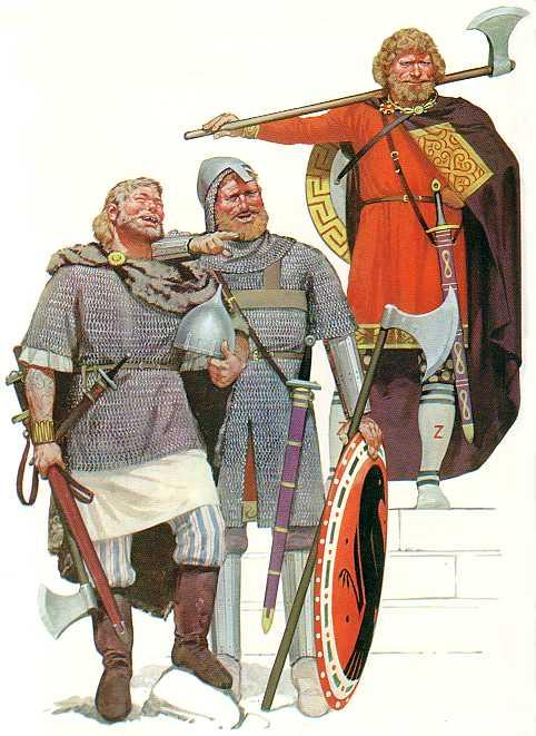 Varangian guardsmen - originally these were recruited from the Rus or Rhos mercenaries of Swedish ancestry who had migrated through the eastern river system to Miklagard (St Michael's stronghold = Constantinople)