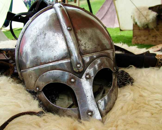Viking helm laid out ready in camp