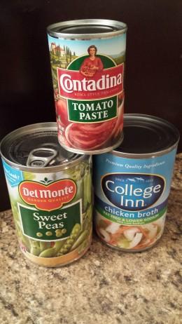 Peas,  Broth,  and Tomato Paste