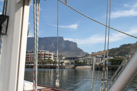 "Looking up at Table Mountain through some of the ""Esperance's"" rigging"