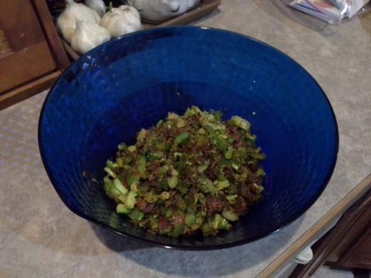 Step Four: Pour your veggie/ham mixture into a separate bowl