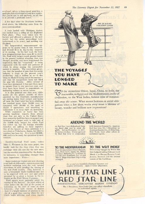 Literary Digest article, Description of the new Ford automobile, 11/12/1927