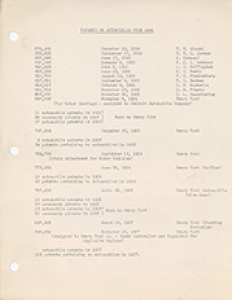 Listing of patents on automobiles from 1888 to 1907
