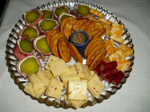Serve fruit, cheese and crackers.