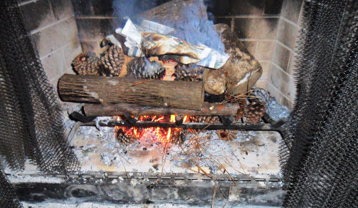 Once I lit a tolled up piece of newspaper, I tried to spread the flame and light the various pine cones.