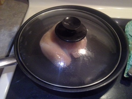 Step One: Cook your thawed chicken breasts in a saute pan over medium heat