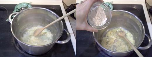 Step Four: Cook your onions until translucent, Step Five: Add in your flour