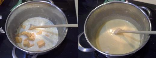 Step Nine: Add the Velveeta to your soup pot, Step Ten: Mix your Velveeta in until completely melted