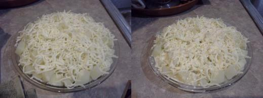 Step Six: Spread cheese evenly across the top, Step Seven: Pour your Bisquick mixture evenly across the top of your pie