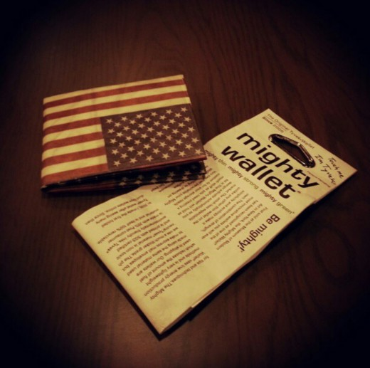 The Stars and Stripes Mighty Wallet. The most  durable wallet I have ever sat on.
