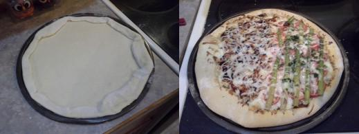Step Ten: Fold over the sides to make yourself a nice thick crust and bake for about 6 minutes to get ready for toppings, Step Eleven: Top your pizza as you choose and bake for 12 minutes