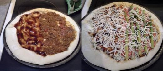 Step Six: Precook your pizza crust in the oven and sauce it as you choose, Step Seven: Top your pizza