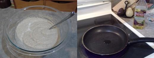 Step Six: Mix both mixture well, Step Seven: Add oil to a saute pan and heat to medium