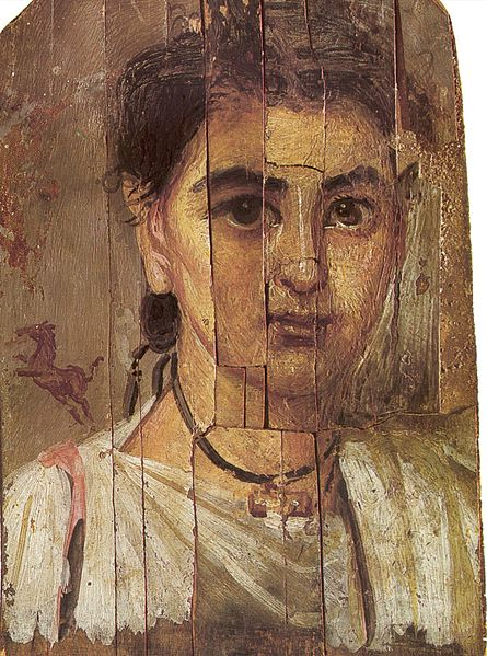 Portrait of a boy.  Second half of 2nd century.  Encaustic on wood.