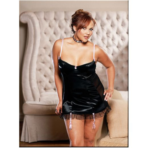 Black satin Chemise accentuated with pink piping.