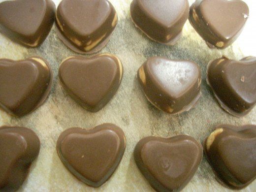 Completed Peanut Butter and Carob Hearts