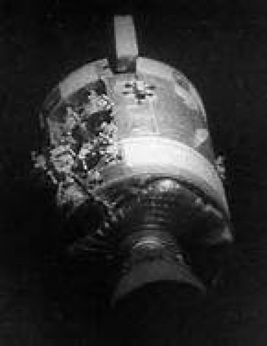 Apollo 13 showing the side panel missing after released.