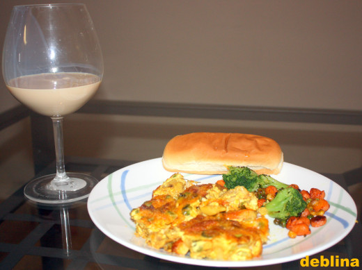 Anglo-Indian fish pie and sauteed veggies washed with Irish Country Cream