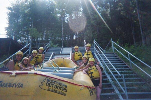 You will slide the raft down a couple flight of stairs to the Kennebec. It's a relatively easy drag, but you should be physically fit. This is my group back in 2008.