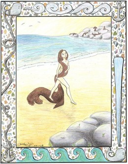 A woman's rendering of the seal-woman or selkie of Irish and Scottish legend.